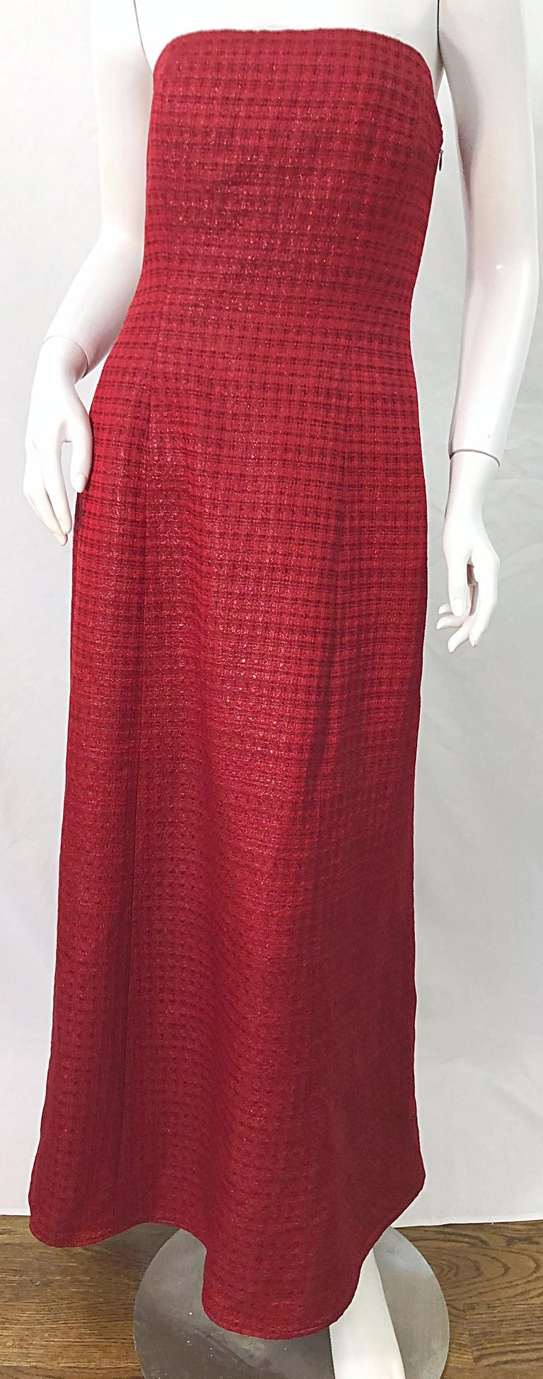 1990s Louis Feraud Cranberry Red Strapless Vintage 90s Silk + Wool Gown Dress For Sale 3