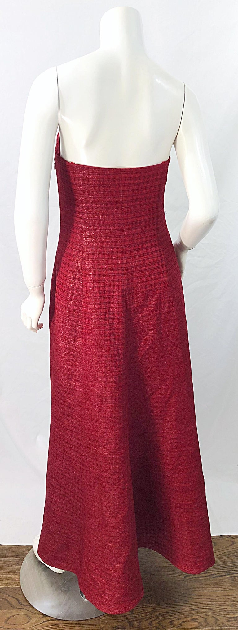 1990s Louis Feraud Cranberry Red Strapless Vintage 90s Silk + Wool Gown Dress For Sale 4
