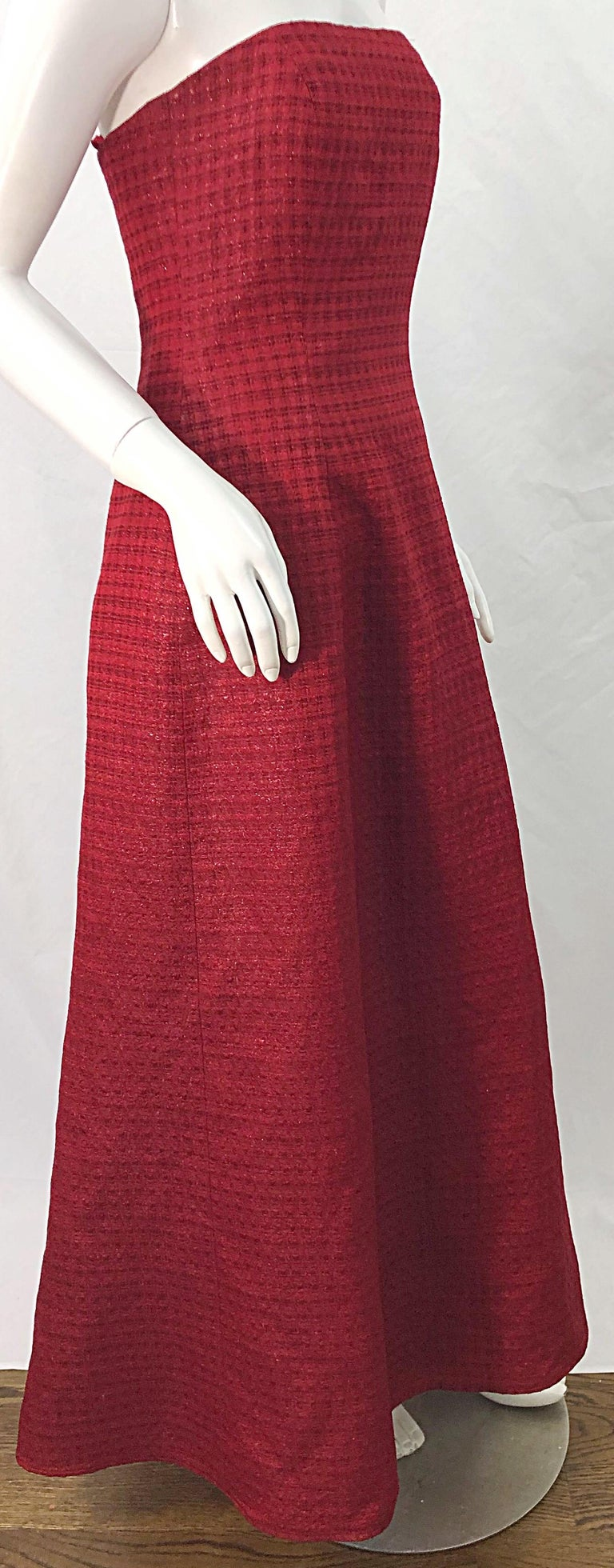 1990s Louis Feraud Cranberry Red Strapless Vintage 90s Silk + Wool Gown Dress For Sale 5