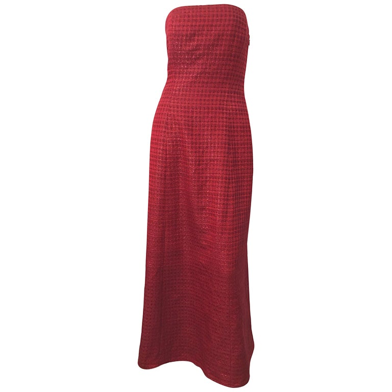 1990s Louis Feraud Cranberry Red Strapless Vintage 90s Silk + Wool Gown Dress For Sale