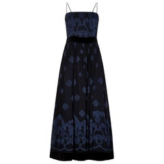 1990s Louis Feraud Embroidered Blue Silk and Black Velvet Evening Dress