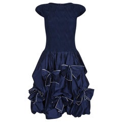 1990s Louis Feraud Navy Silk Taffeta Dress