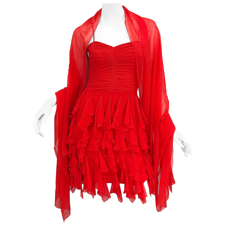 1990s Louis Feraud Size 4 / 6 Lipstick Red Silk Chiffon Vintage Dress + Shawl