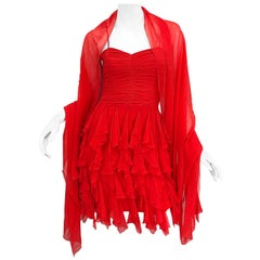 1990s Louis Feraud Size 4 / 6 Lipstick Red Silk Chiffon Vintage Dress + Shawl