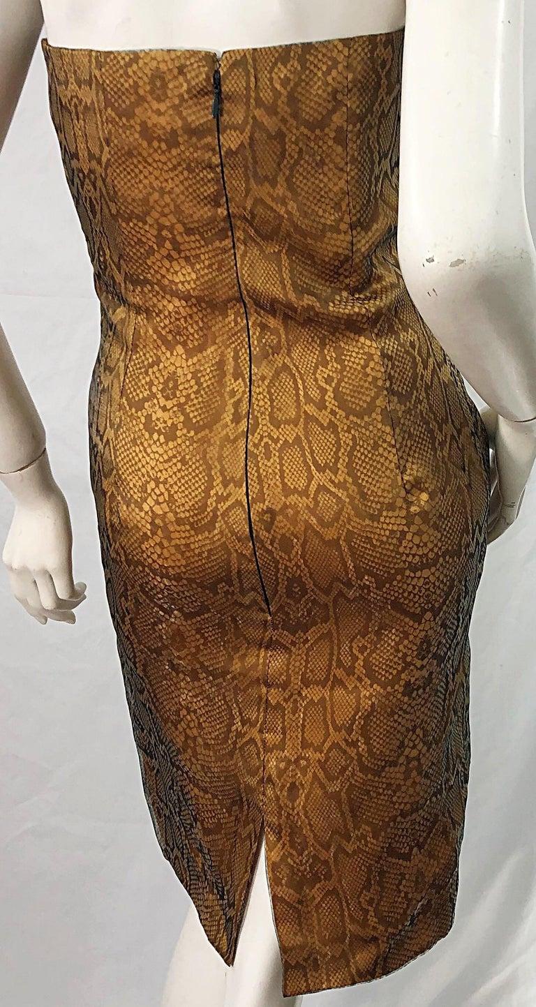 1990s Luca Luca Size 42 / 6 Snakeskin Silk Organza Strapless 90s Tan Brown Dress For Sale 6