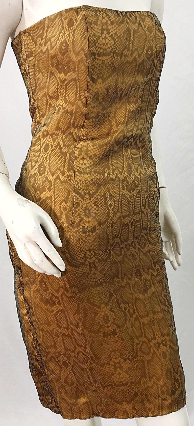 1990s Luca Luca Size 42 / 6 Snakeskin Silk Organza Strapless 90s Tan Brown Dress For Sale 7