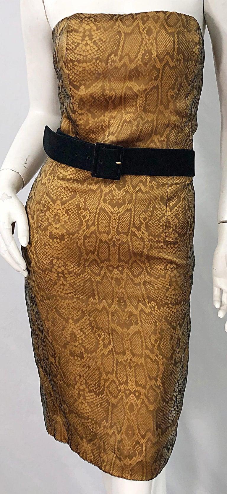 1990s Luca Luca Size 42 / 6 Snakeskin Silk Organza Strapless 90s Tan Brown Dress For Sale 8