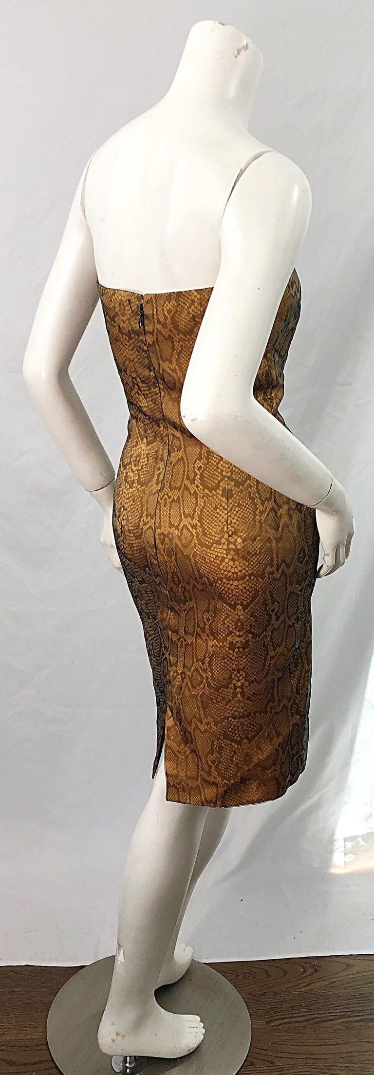 1990s Luca Luca Size 42 / 6 Snakeskin Silk Organza Strapless 90s Tan Brown Dress For Sale 9