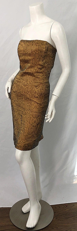 1990s Luca Luca Size 42 / 6 Snakeskin Silk Organza Strapless 90s Tan Brown Dress For Sale 10