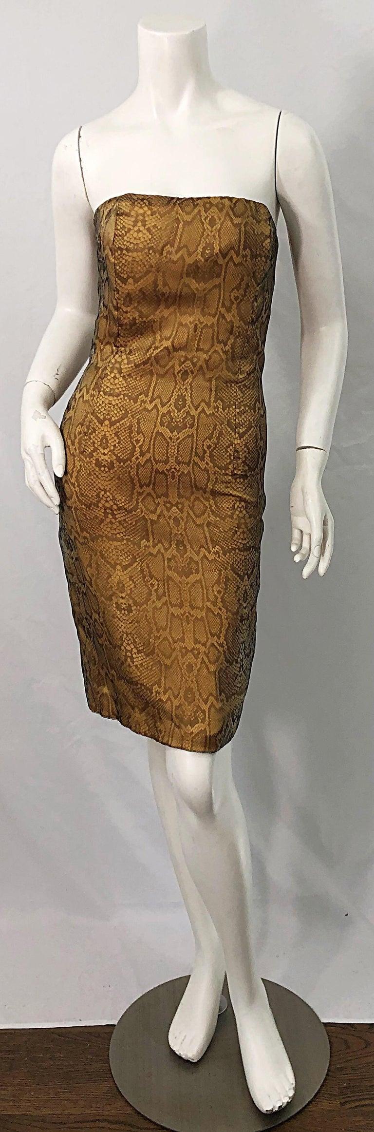 1990s Luca Luca Size 42 / 6 Snakeskin Silk Organza Strapless 90s Tan Brown Dress For Sale 11