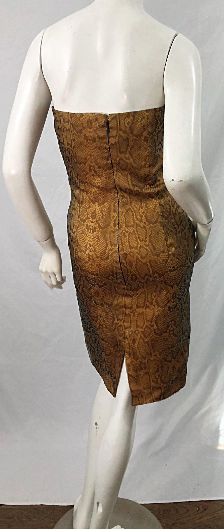 Women's 1990s Luca Luca Size 42 / 6 Snakeskin Silk Organza Strapless 90s Tan Brown Dress For Sale