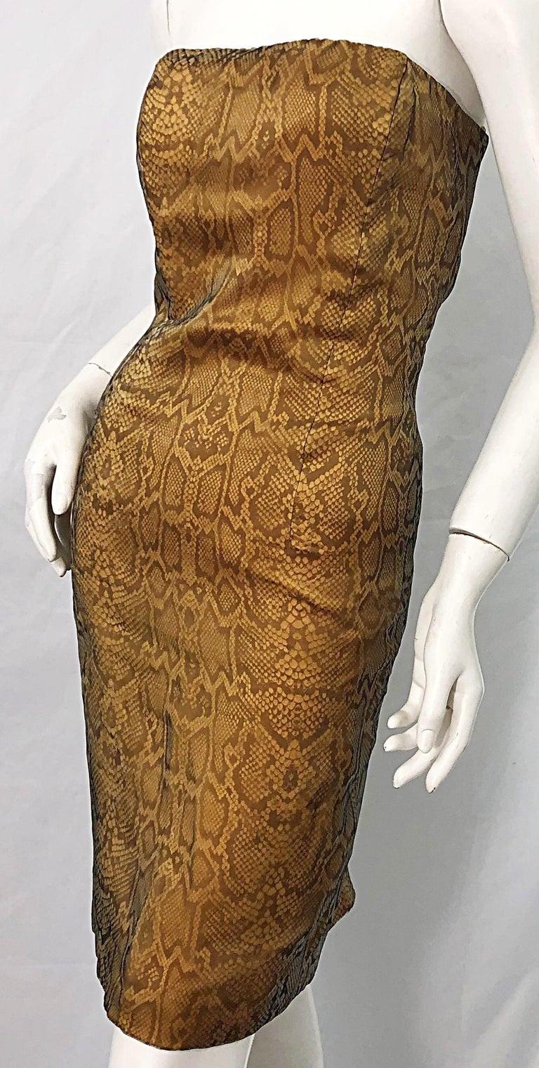 1990s Luca Luca Size 42 / 6 Snakeskin Silk Organza Strapless 90s Tan Brown Dress For Sale 1