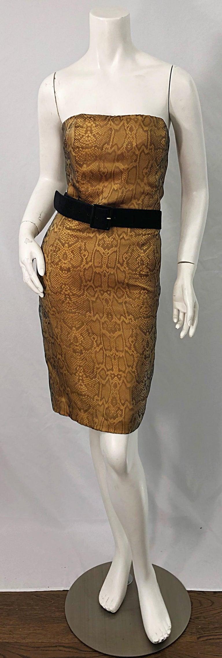 1990s Luca Luca Size 42 / 6 Snakeskin Silk Organza Strapless 90s Tan Brown Dress For Sale 2