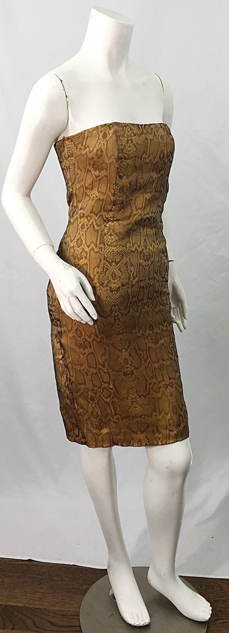 1990s Luca Luca Size 42 / 6 Snakeskin Silk Organza Strapless 90s Tan Brown Dress For Sale 3