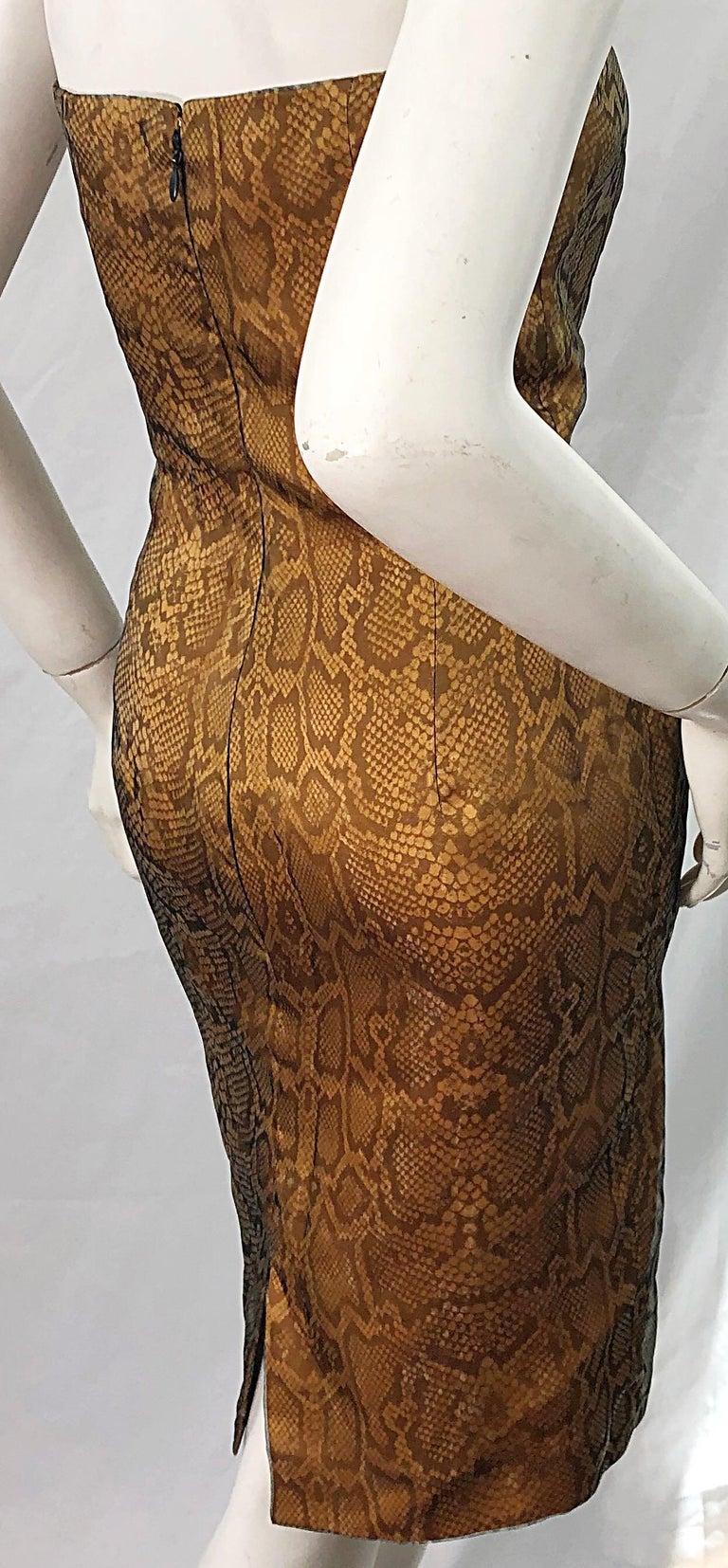 1990s Luca Luca Size 42 / 6 Snakeskin Silk Organza Strapless 90s Tan Brown Dress For Sale 4