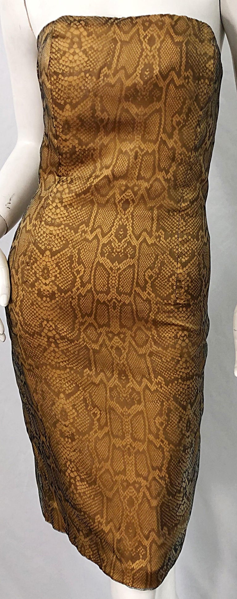 1990s Luca Luca Size 42 / 6 Snakeskin Silk Organza Strapless 90s Tan Brown Dress For Sale 5