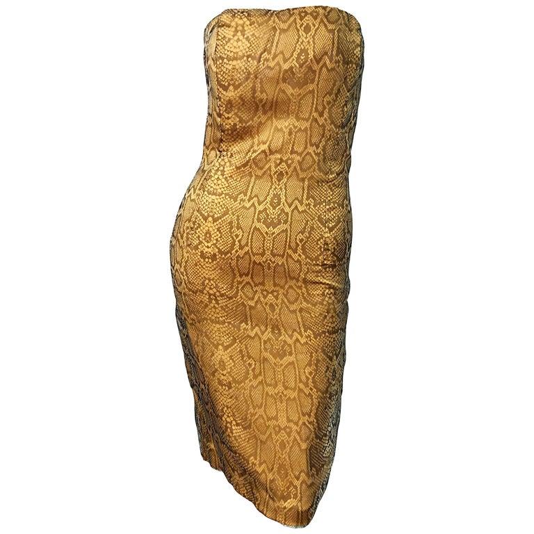 1990s Luca Luca Size 42 / 6 Snakeskin Silk Organza Strapless 90s Tan Brown Dress For Sale