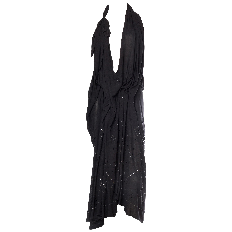 1990S MAISON MARTIN MARGIELA Black Rayon Jersey Avant Garde Draped Cocktail Dre