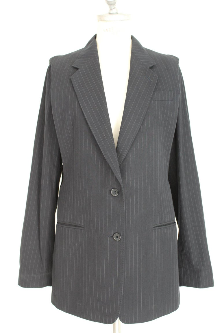 Maison Martin Margiela vintage 90s women's jacket. Sleeveless long blazer, pinstripe blue and gray, 100% cotton. The jacket can become a vest by removing the sleeves with a clip. Made in Italy. Excellent vintage conditions.    Size: 44 It 10 Us 12