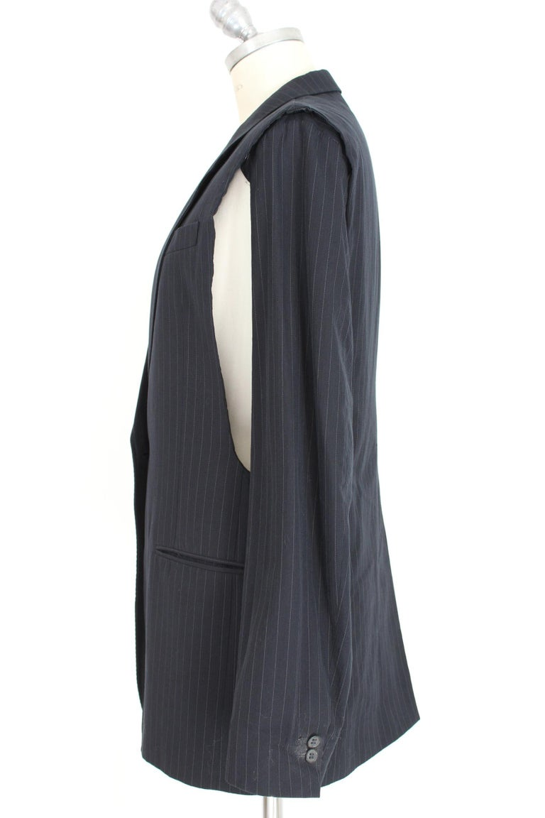1990s Maison Martin Margiela Blue Gray Cotton Sleeveless Vest Pinstripe Jacket In Excellent Condition For Sale In Brindisi, Bt