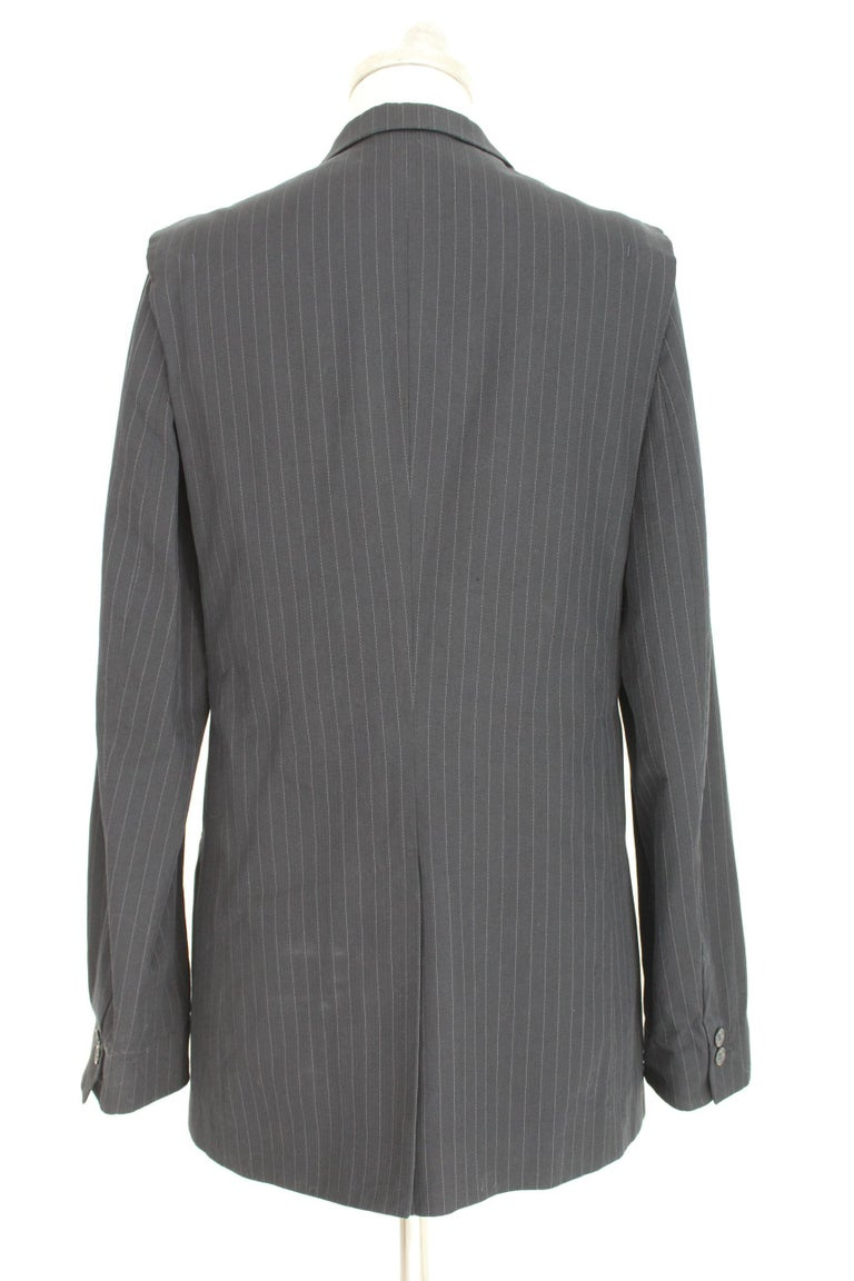 Women's 1990s Maison Martin Margiela Blue Gray Cotton Sleeveless Vest Pinstripe Jacket For Sale