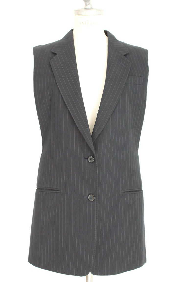 1990s Maison Martin Margiela Blue Gray Cotton Sleeveless Vest Pinstripe Jacket For Sale 1