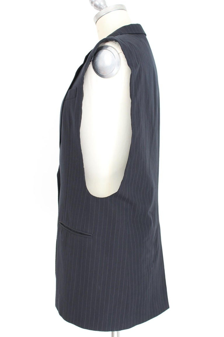 1990s Maison Martin Margiela Blue Gray Cotton Sleeveless Vest Pinstripe Jacket For Sale 3