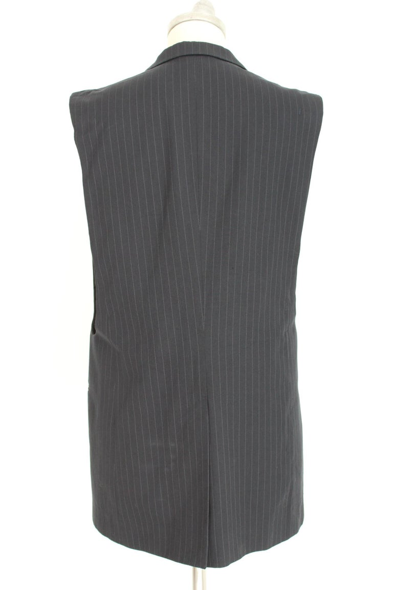 1990s Maison Martin Margiela Blue Gray Cotton Sleeveless Vest Pinstripe Jacket For Sale 4