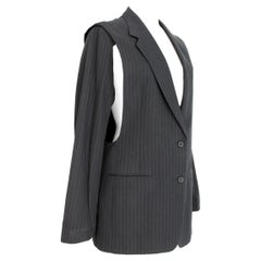 Martin Margiela Blue Gray Cotton Sleeveless Vest Pinstripe Jacket 1990s