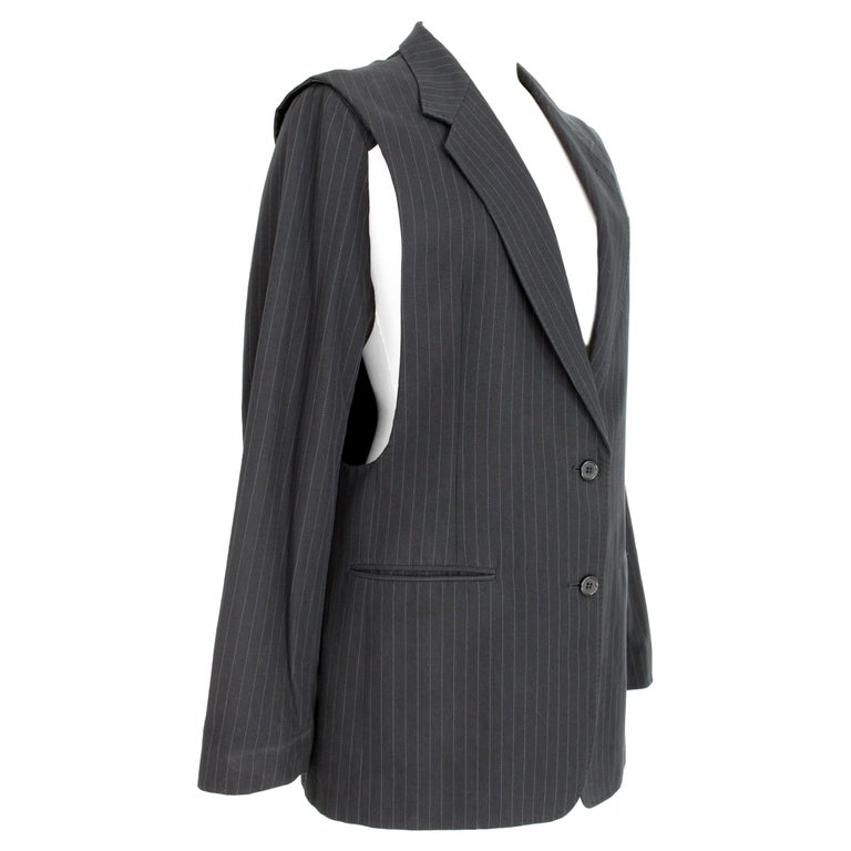 1990s Maison Martin Margiela Blue Gray Cotton Sleeveless Vest Pinstripe Jacket For Sale
