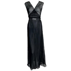 1990's Maison Martin Margiela Sheer Black Wrap Gown Dress