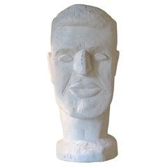 1990's Male Head Sculpture, White Wood, Mirsad Bijedic