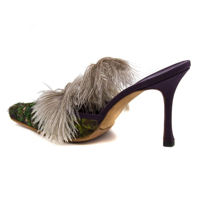 Brown 1990s Manolo Blahnik Feathered Mules For Sale