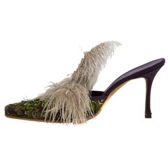 1990s Manolo Blahnik Feathered Mules