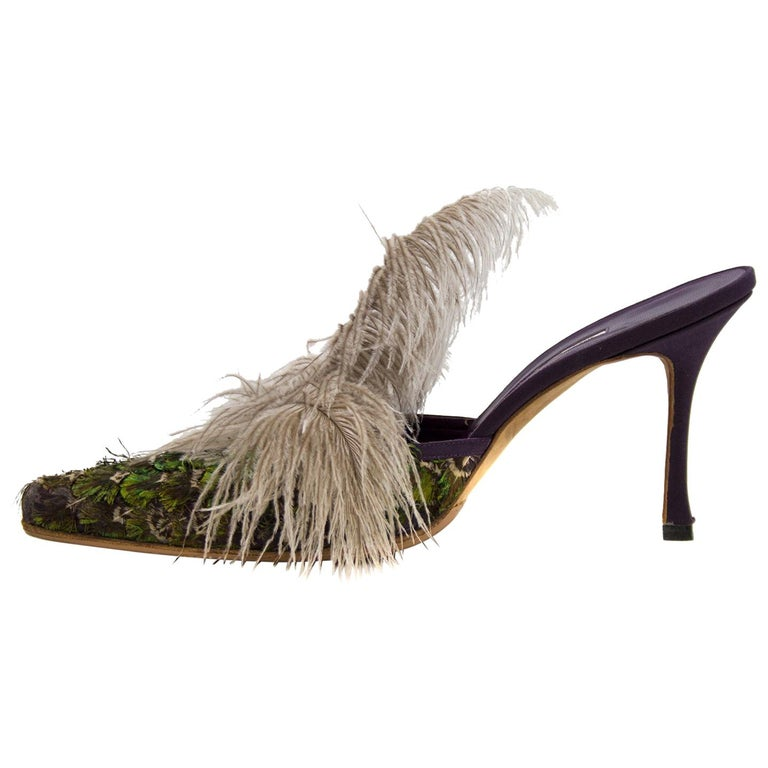 1990s Manolo Blahnik Feathered Mules For Sale