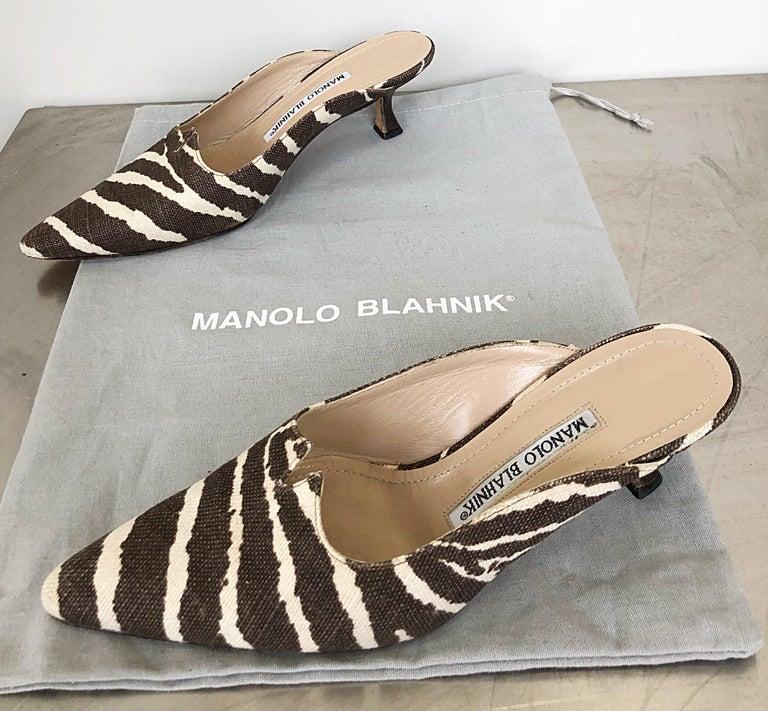 1990s Manolo Blahnik Rare Size 35.5 / 5.5 Brown + Ivory Zebra Kitten Heel Mules For Sale 6