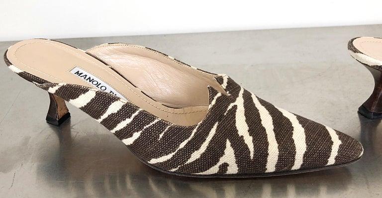White 1990s Manolo Blahnik Rare Size 35.5 / 5.5 Brown + Ivory Zebra Kitten Heel Mules For Sale