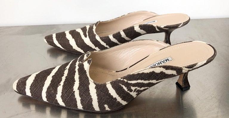 1990s Manolo Blahnik Rare Size 35.5 / 5.5 Brown + Ivory Zebra Kitten Heel Mules For Sale 1