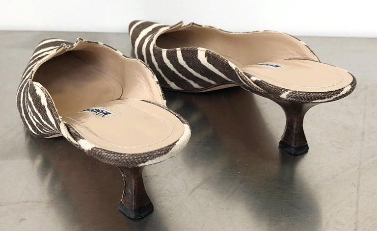 1990s Manolo Blahnik Rare Size 35.5 / 5.5 Brown + Ivory Zebra Kitten Heel Mules For Sale 2