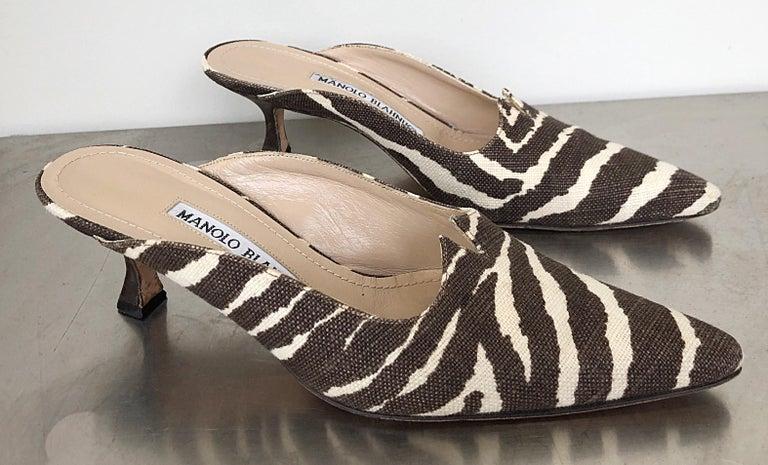 1990s Manolo Blahnik Rare Size 35.5 / 5.5 Brown + Ivory Zebra Kitten Heel Mules For Sale 3