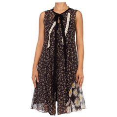 1990S MARC JACOBS Black Daisy Print Cotton Dress With Patchwork And Ruffle Deta