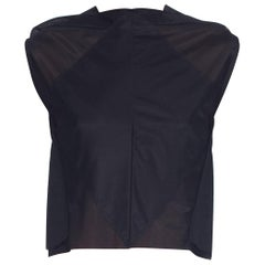 1990S MARGIELA Nylon Black Geometric Sheer Seamed Crop Top