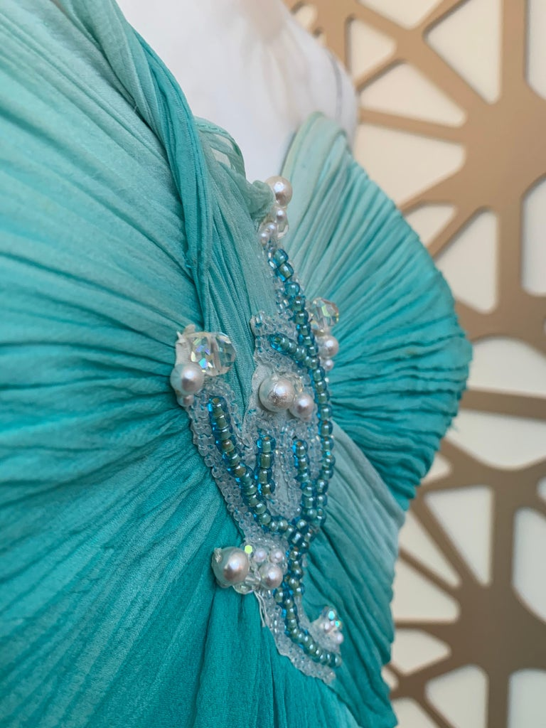 1990s Michael Casey Aquamarine Ombre Silk Goddess Gown W/ Ruched Beaded Bodice For Sale 5