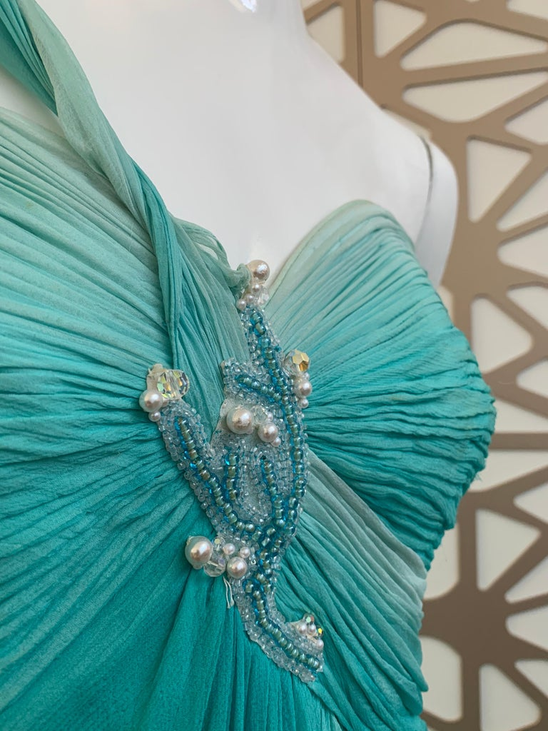 1990s Michael Casey Aquamarine Ombre Silk Goddess Gown W/ Ruched Beaded Bodice For Sale 6