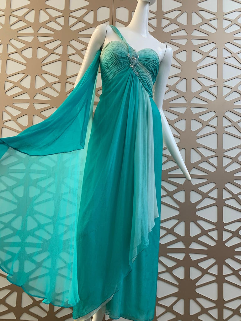 Blue 1990s Michael Casey Aquamarine Ombre Silk Goddess Gown W/ Ruched Beaded Bodice For Sale