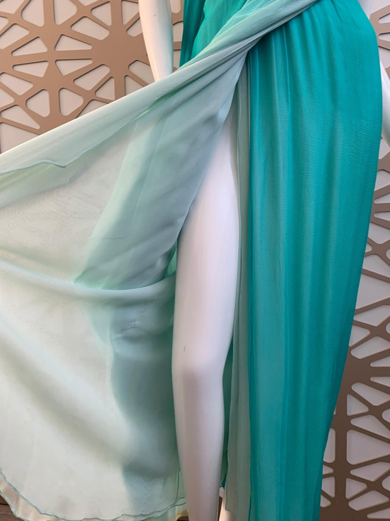 Women's 1990s Michael Casey Aquamarine Ombre Silk Goddess Gown W/ Ruched Beaded Bodice For Sale