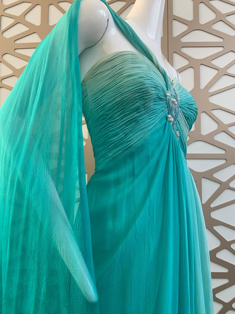 1990s Michael Casey Aquamarine Ombre Silk Goddess Gown W/ Ruched Beaded Bodice For Sale 1
