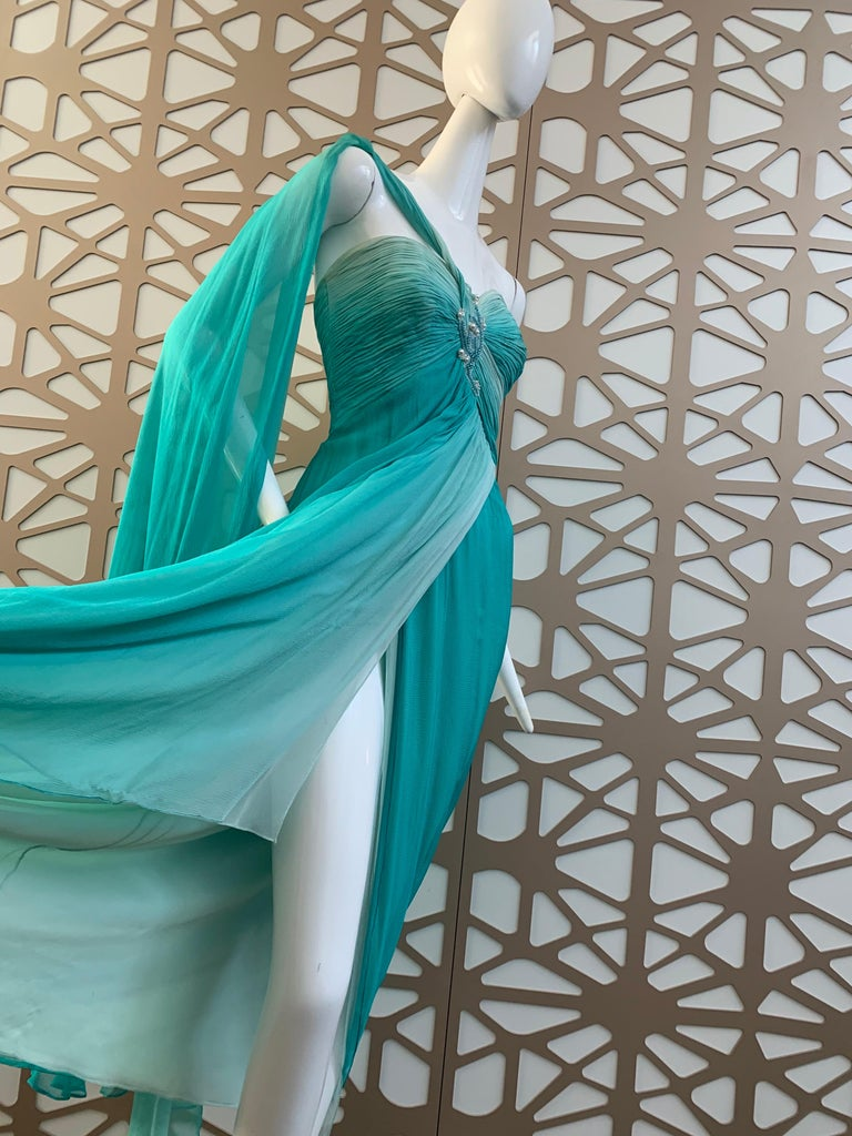 1990s Michael Casey Aquamarine Ombre Silk Goddess Gown W/ Ruched Beaded Bodice For Sale 2