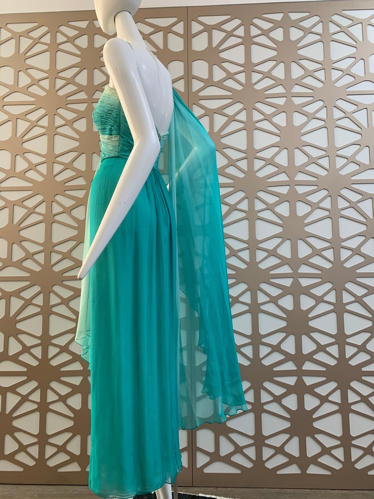 1990s Michael Casey Aquamarine Ombre Silk Goddess Gown W/ Ruched Beaded Bodice For Sale 3