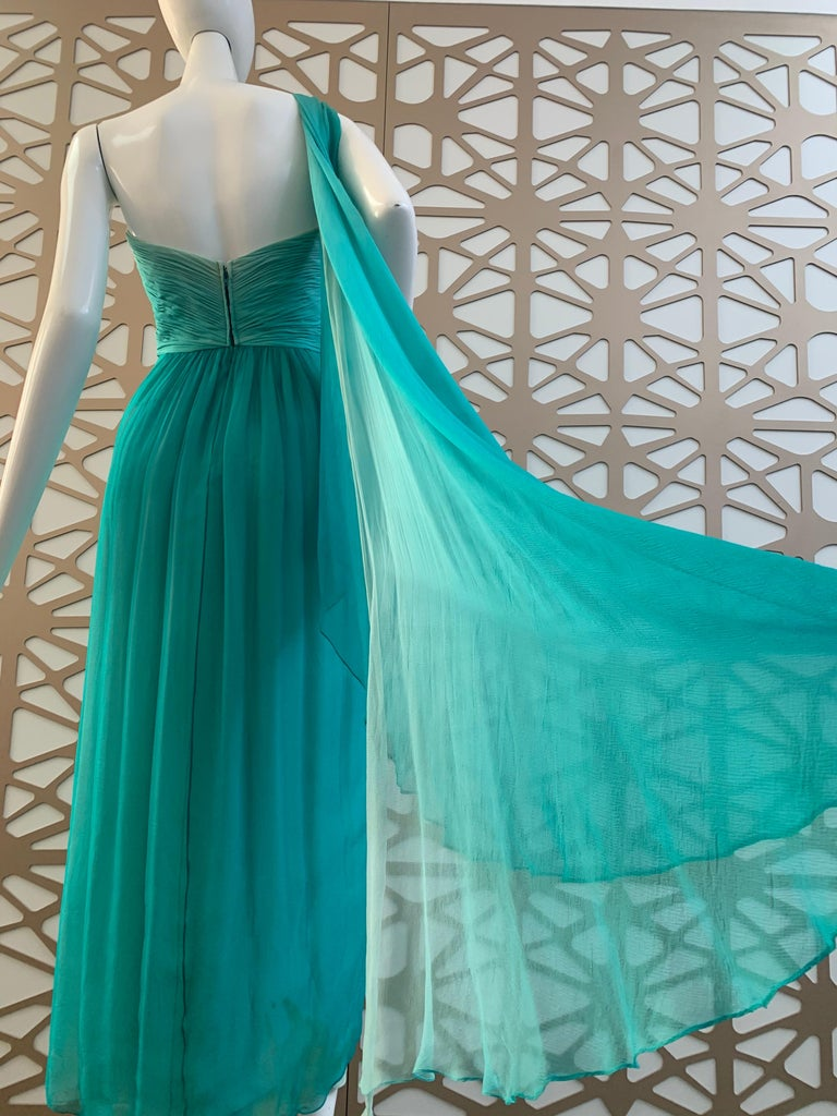 1990s Michael Casey Aquamarine Ombre Silk Goddess Gown W/ Ruched Beaded Bodice For Sale 4